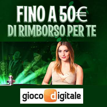 Gioco digitale rimborso 50 euro