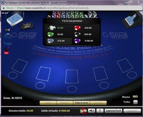 snai blackjack pro recensione