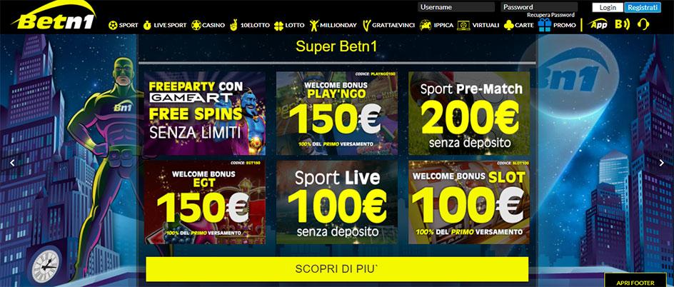 Betn1 casino bonus benvenuto