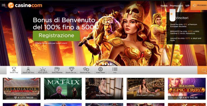 Casino.com bonus benvenuto